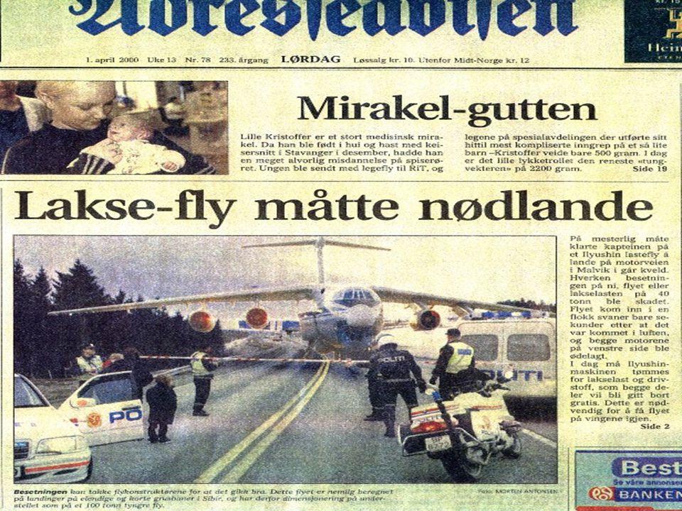•Adresseavisa 1/4 2000: Russisk transportfly nødlandet på motorveien nord for Malvik. •For å kunne lette igjen måtte flyets vekt reduseres og dette ku