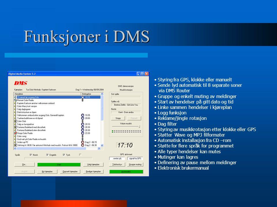Funksjoner i DMS • Styring fra GPS, klokke eller manuelt • Sende lyd automatisk til 8 separate soner via DMS Router • Gruppe og enkelt muting av meldi
