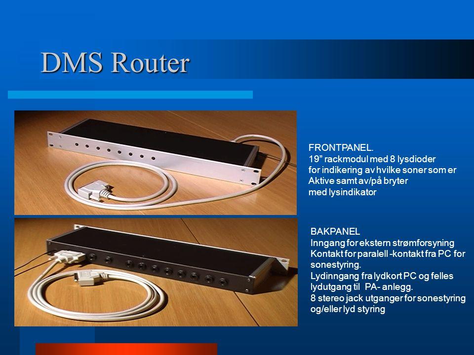 """DMS Router FRONTPANEL. 19"""" rackmodul med 8 lysdioder for indikering av hvilke soner som er Aktive samt av/på bryter med lysindikator BAKPANEL Inngang"""