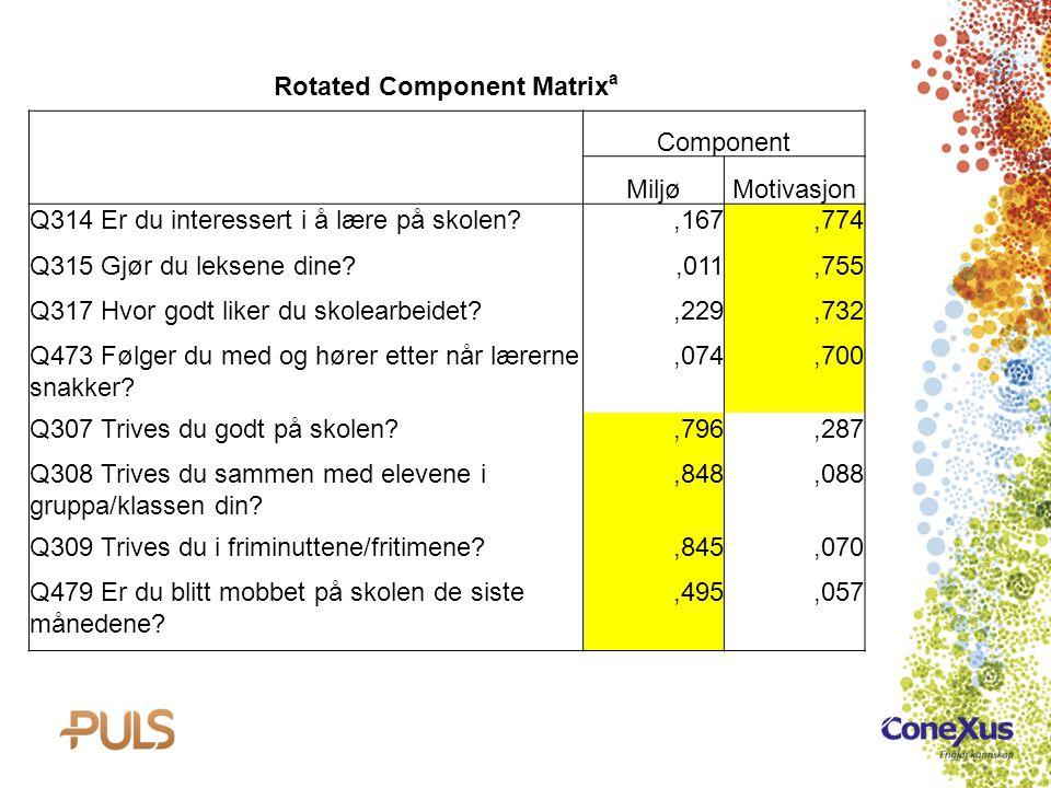 Rotated Component Matrix a Component MiljøMotivasjon Q314 Er du interessert i å lære på skolen?,167,774 Q315 Gjør du leksene dine?,011,755 Q317 Hvor g