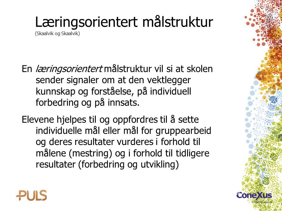 Læringsorientert målstruktur (Skaalvik og Skaalvik) En læringsorientert målstruktur vil si at skolen sender signaler om at den vektlegger kunnskap og