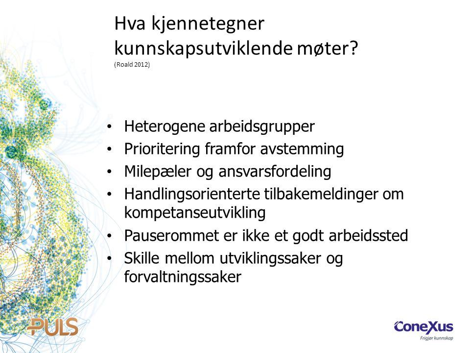 Hva kjennetegner kunnskapsutviklende møter? (Roald 2012) • Heterogene arbeidsgrupper • Prioritering framfor avstemming • Milepæler og ansvarsfordeling