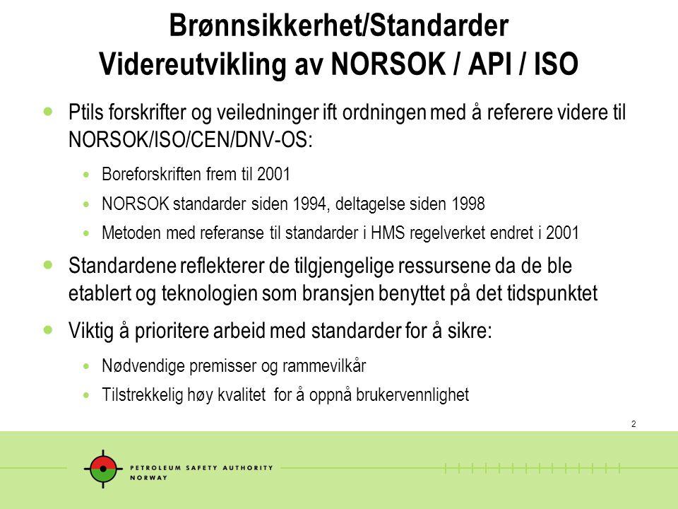 2 Brønnsikkerhet/Standarder Videreutvikling av NORSOK / API / ISO  Ptils forskrifter og veiledninger ift ordningen med å referere videre til NORSOK/I
