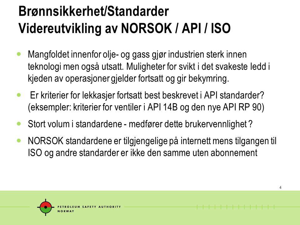 4 Brønnsikkerhet/Standarder Videreutvikling av NORSOK / API / ISO  Mangfoldet innenfor olje- og gass gjør industrien sterk innen teknologi men også u