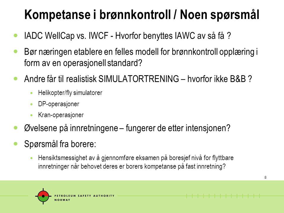 8 Kompetanse i brønnkontroll / Noen spørsmål  IADC WellCap vs. IWCF - Hvorfor benyttes IAWC av så få ?  Bør næringen etablere en felles modell for b