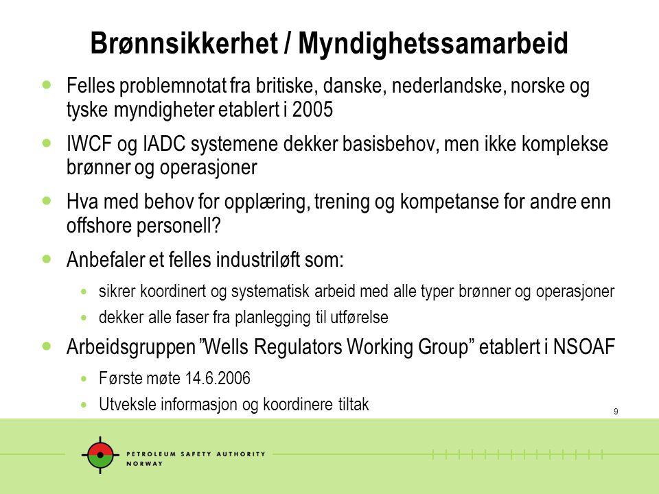9 Brønnsikkerhet / Myndighetssamarbeid  Felles problemnotat fra britiske, danske, nederlandske, norske og tyske myndigheter etablert i 2005  IWCF og