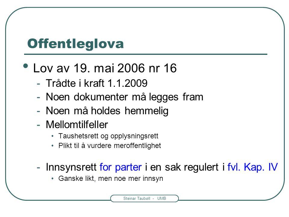 Steinar Taubøll - UMB Offentleglova • Lov av 19. mai 2006 nr 16 -Trådte i kraft 1.1.2009 -Noen dokumenter må legges fram -Noen må holdes hemmelig -Mel