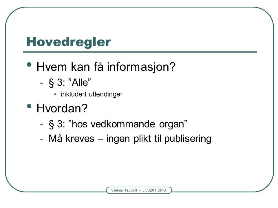 """Steinar Taubøll - JUS201 UMB Hovedregler • Hvem kan få informasjon? -§ 3: """"Alle"""" •inkludert utlendinger • Hvordan? -§ 3: """"hos vedkommande organ"""" -Må k"""