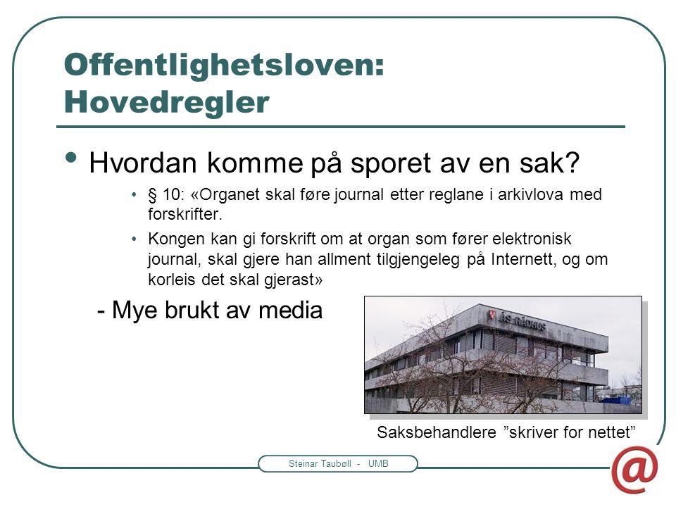 Steinar Taubøll - UMB Offentlighetsloven: Hovedregler • Hvordan komme på sporet av en sak? •§ 10: «Organet skal føre journal etter reglane i arkivlova