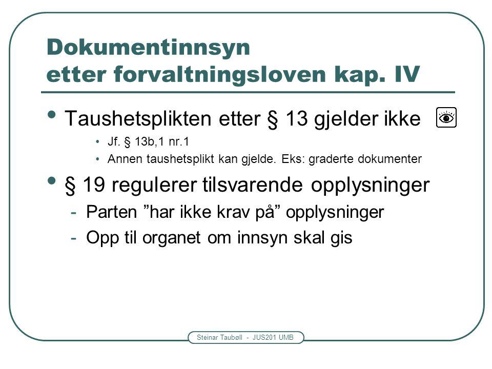 Steinar Taubøll - JUS201 UMB Dokumentinnsyn etter forvaltningsloven kap. IV • Taushetsplikten etter § 13 gjelder ikke •Jf. § 13b,1 nr.1 •Annen taushet