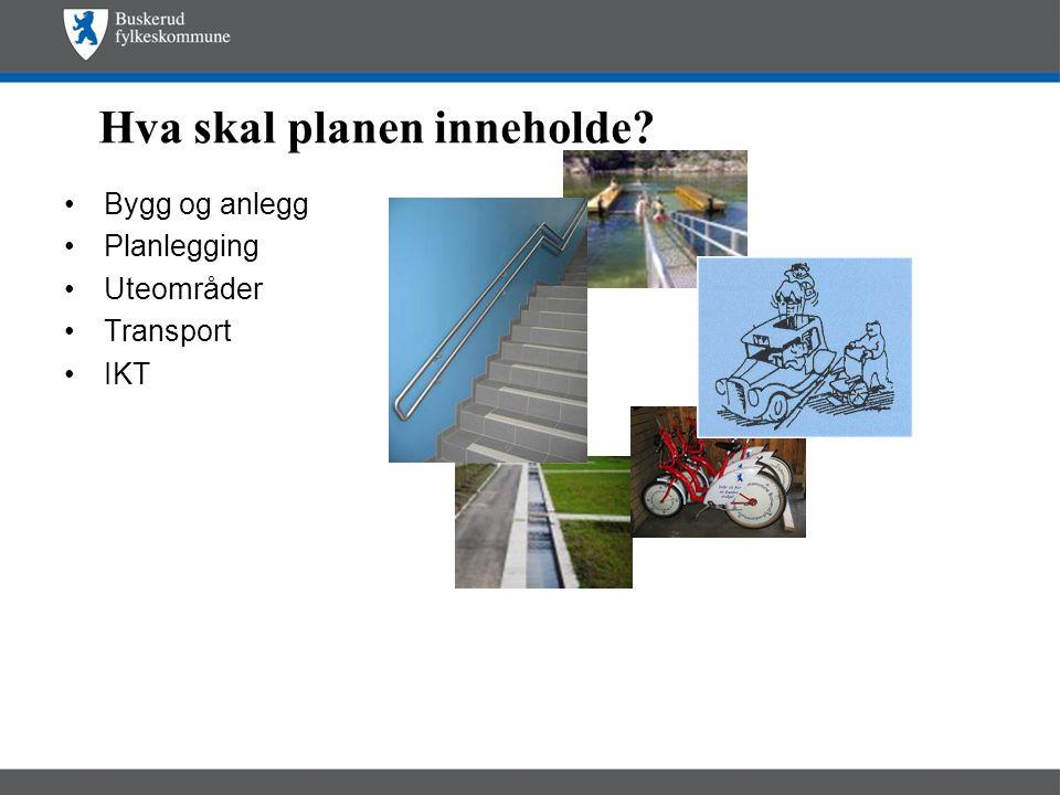 Hva skal planen inneholde? •Bygg og anlegg •Planlegging •Uteområder •Transport •IKT
