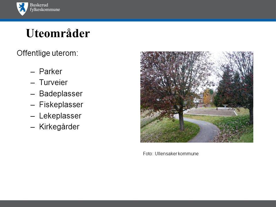Uteområder Offentlige uterom: –Parker –Turveier –Badeplasser –Fiskeplasser –Lekeplasser –Kirkegårder Foto: Ullensaker kommune