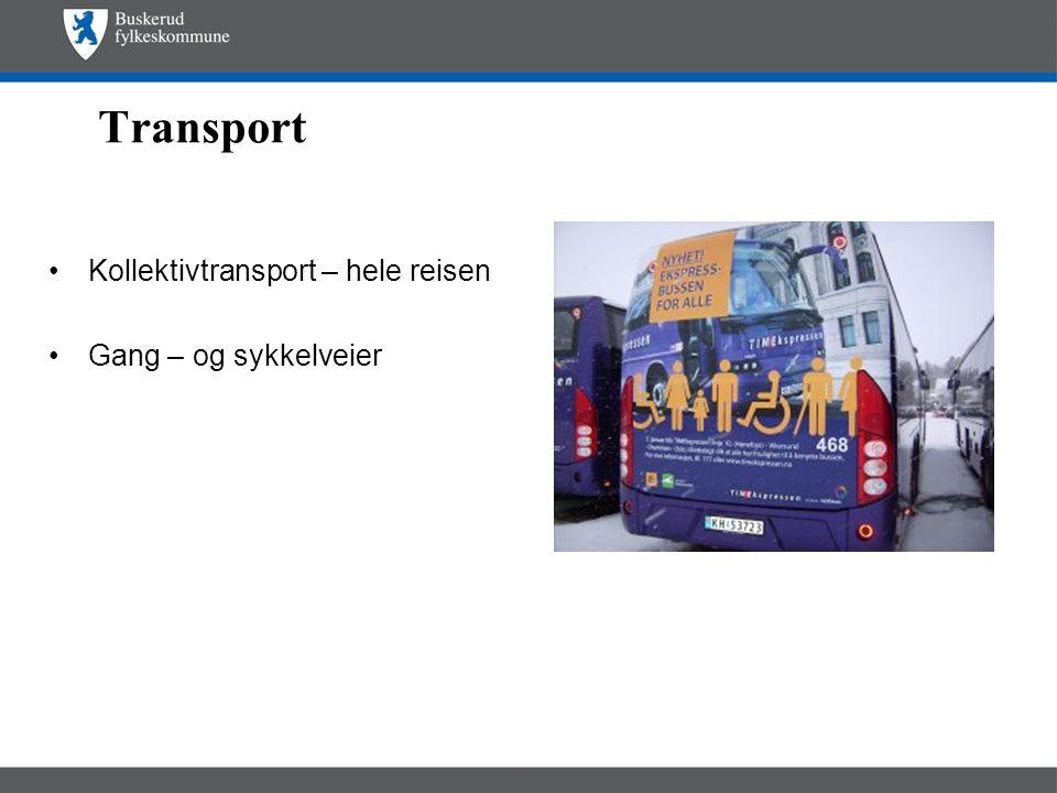 Transport •Kollektivtransport – hele reisen •Gang – og sykkelveier