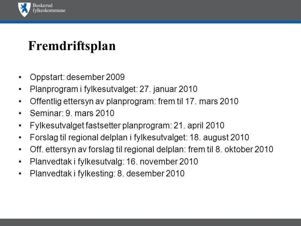 Fremdriftsplan •Oppstart: desember 2009 •Planprogram i fylkesutvalget: 27. januar 2010 •Offentlig ettersyn av planprogram: frem til 17. mars 2010 •Sem