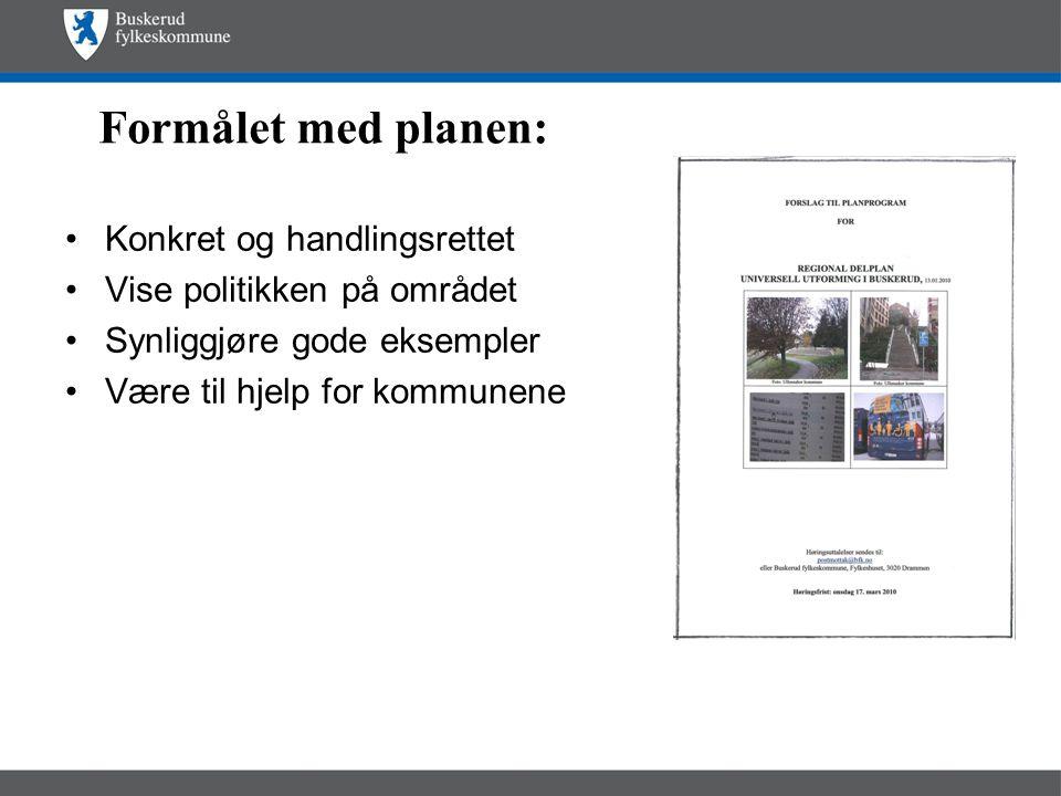 Formålet med planen: •Konkret og handlingsrettet •Vise politikken på området •Synliggjøre gode eksempler •Være til hjelp for kommunene