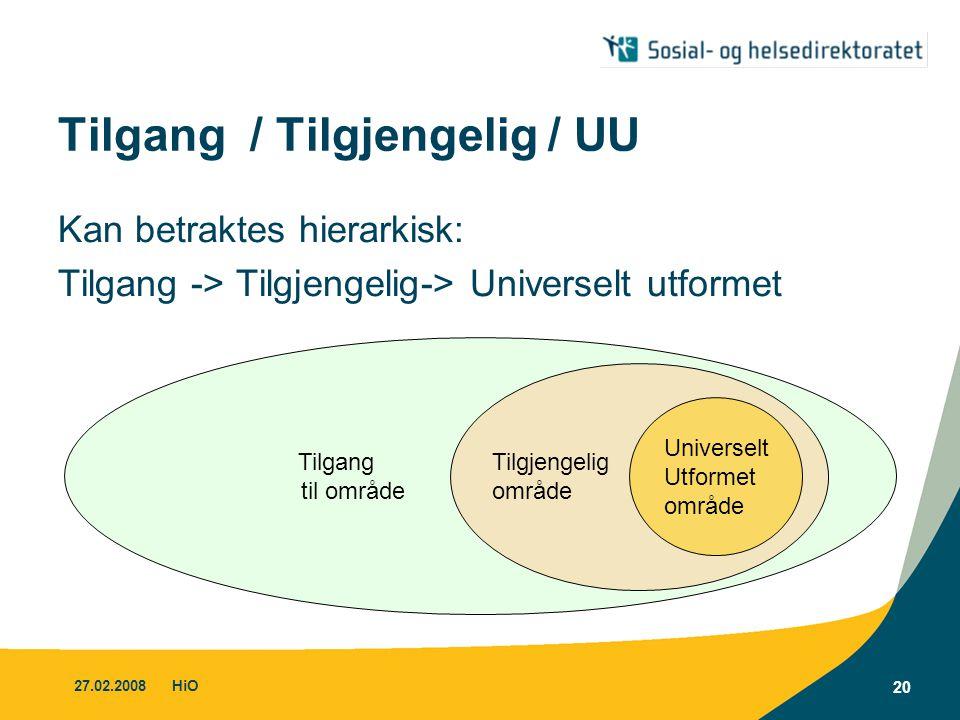 27.02.2008HiO 20 Tilgang / Tilgjengelig / UU Kan betraktes hierarkisk: Tilgang -> Tilgjengelig-> Universelt utformet Tilgang til område Tilgjengelig o