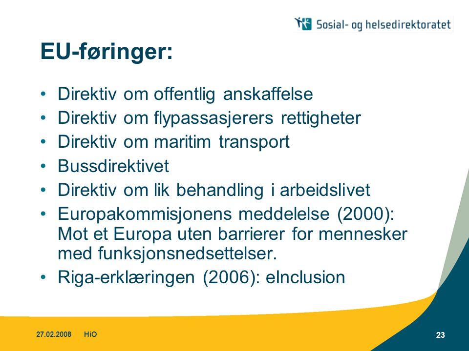 27.02.2008HiO 23 EU-føringer: •Direktiv om offentlig anskaffelse •Direktiv om flypassasjerers rettigheter •Direktiv om maritim transport •Bussdirektiv