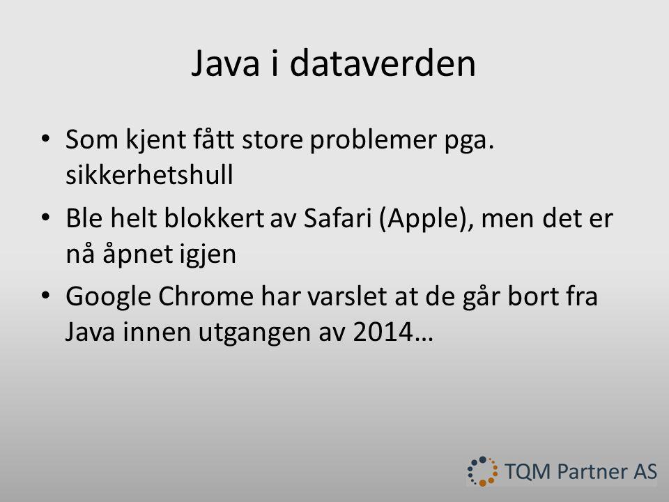 Java i TQM Enterprise • Er til testing hos utvalgte kunder nå, primært hos brukerutvalget.
