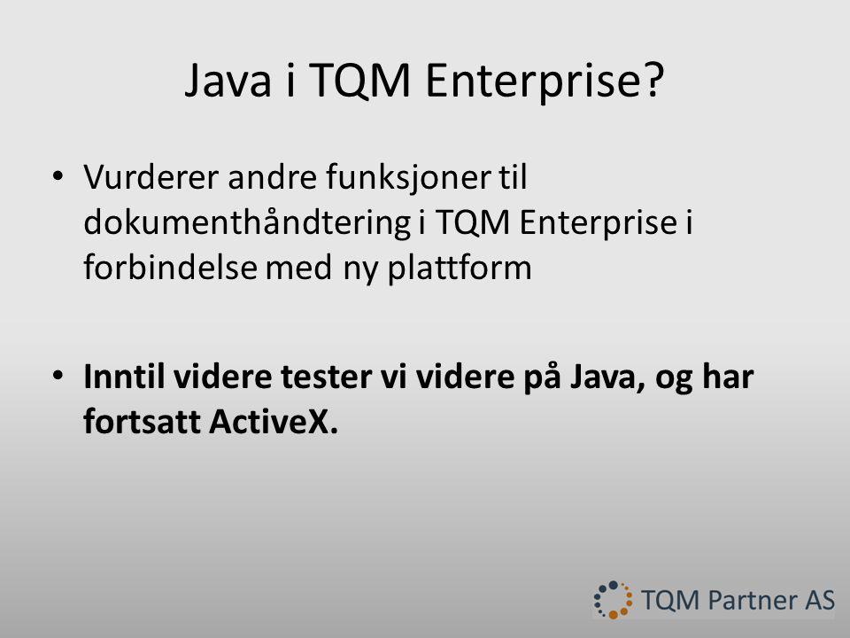 Java i TQM Enterprise.