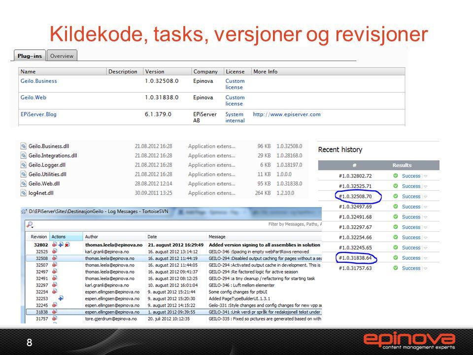 Kildekode, tasks, versjoner og revisjoner 8