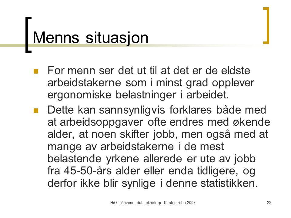 HiO - Anvendt datateknologi - Kirsten Ribu 200728 Menns situasjon  For menn ser det ut til at det er de eldste arbeidstakerne som i minst grad opplever ergonomiske belastninger i arbeidet.