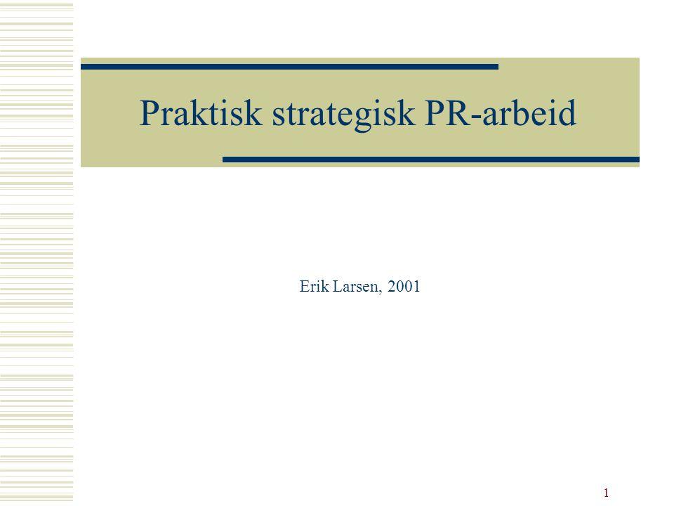 1 Praktisk strategisk PR-arbeid Erik Larsen, 2001