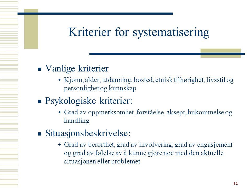 16 Kriterier for systematisering  Vanlige kriterier  Kjønn, alder, utdanning, bosted, etnisk tilhørighet, livsstil og personlighet og kunnskap  Psy