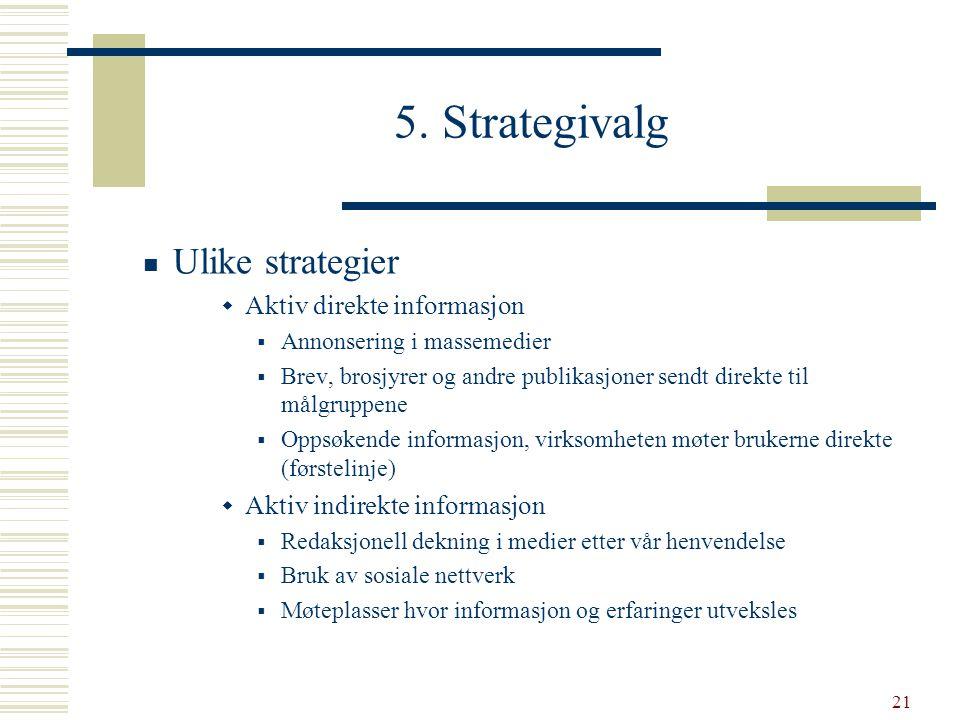21 5. Strategivalg  Ulike strategier  Aktiv direkte informasjon  Annonsering i massemedier  Brev, brosjyrer og andre publikasjoner sendt direkte t