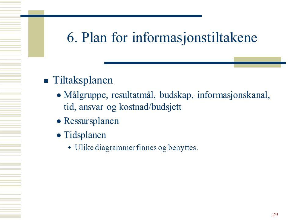 29 6. Plan for informasjonstiltakene  Tiltaksplanen  Målgruppe, resultatmål, budskap, informasjonskanal, tid, ansvar og kostnad/budsjett  Ressurspl