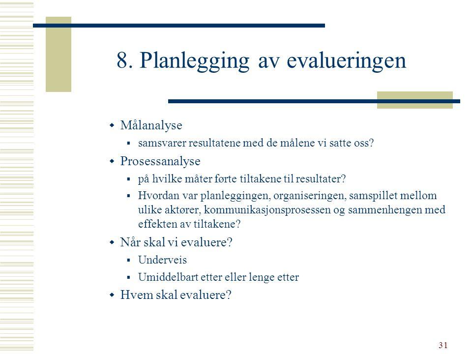31 8. Planlegging av evalueringen  Målanalyse  samsvarer resultatene med de målene vi satte oss?  Prosessanalyse  på hvilke måter førte tiltakene