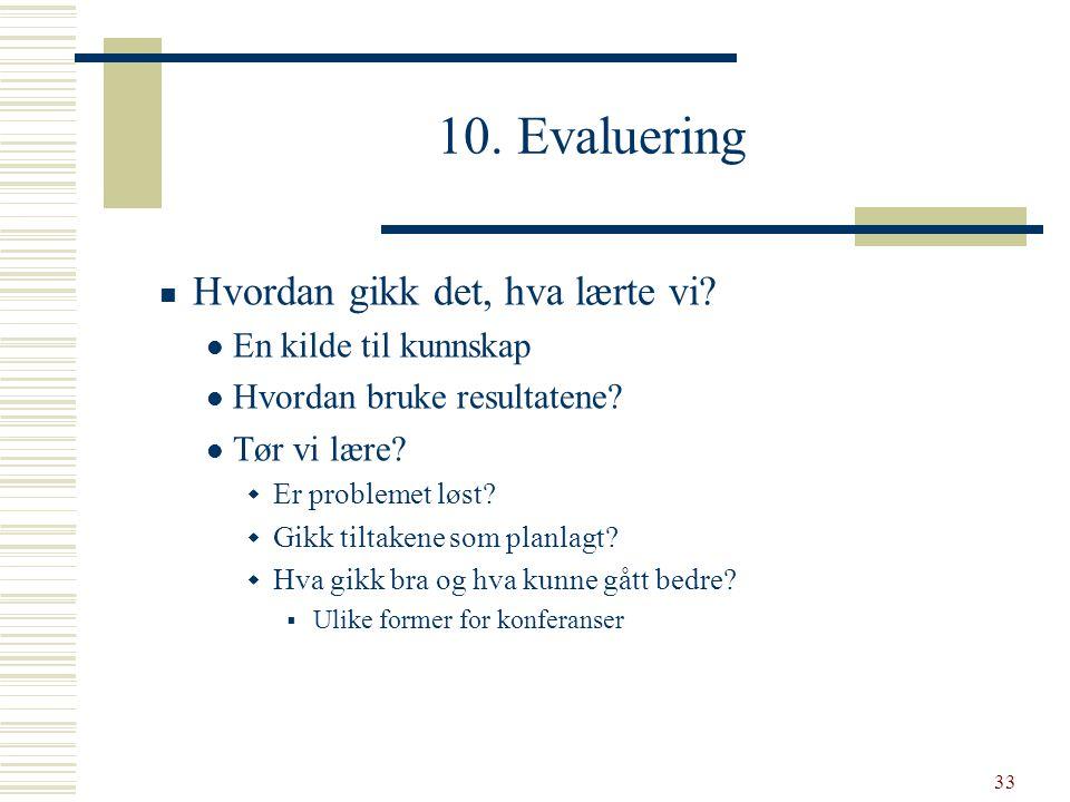 33 10. Evaluering  Hvordan gikk det, hva lærte vi?  En kilde til kunnskap  Hvordan bruke resultatene?  Tør vi lære?  Er problemet løst?  Gikk ti