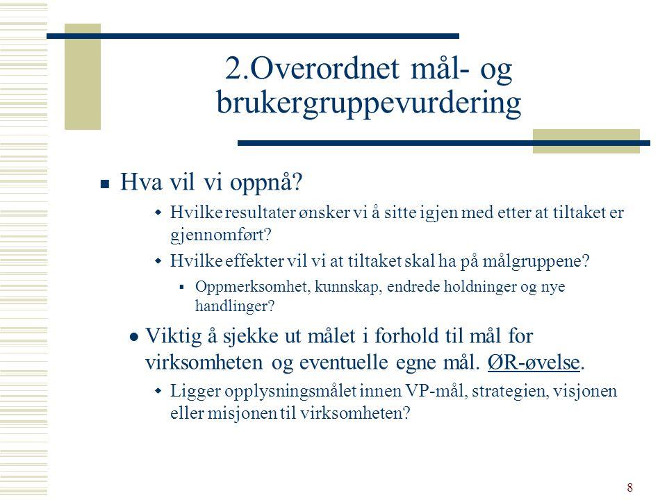 9 To målnivåer  Overordnet målnivå  Høynet kunnskap om barnevernet i befolkningen  Resultatmål  Mest mulig konkrete, observerbare og målbare – helst i forhold til de enkelte målgruppene