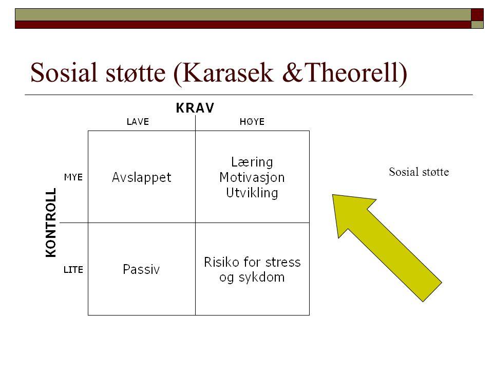 Sosial støtte (Karasek &Theorell) Sosial støtte