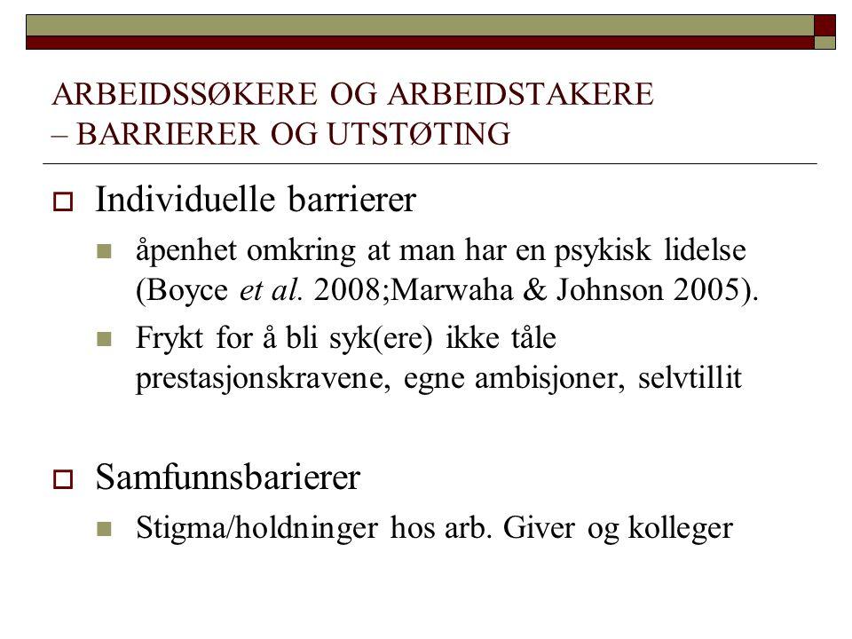 ARBEIDSSØKERE OG ARBEIDSTAKERE – BARRIERER OG UTSTØTING  Individuelle barrierer  åpenhet omkring at man har en psykisk lidelse (Boyce et al. 2008;Ma