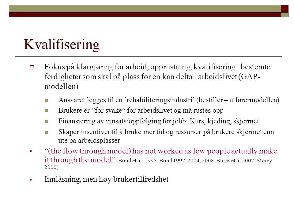Kvalifisering  Fokus på klargjøring for arbeid, opprustning, kvalifisering, bestemte ferdigheter som skal på plass før en kan delta i arbeidslivet (G