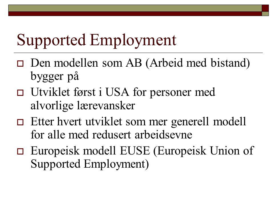Supported Employment  Den modellen som AB (Arbeid med bistand) bygger på  Utviklet først i USA for personer med alvorlige lærevansker  Etter hvert
