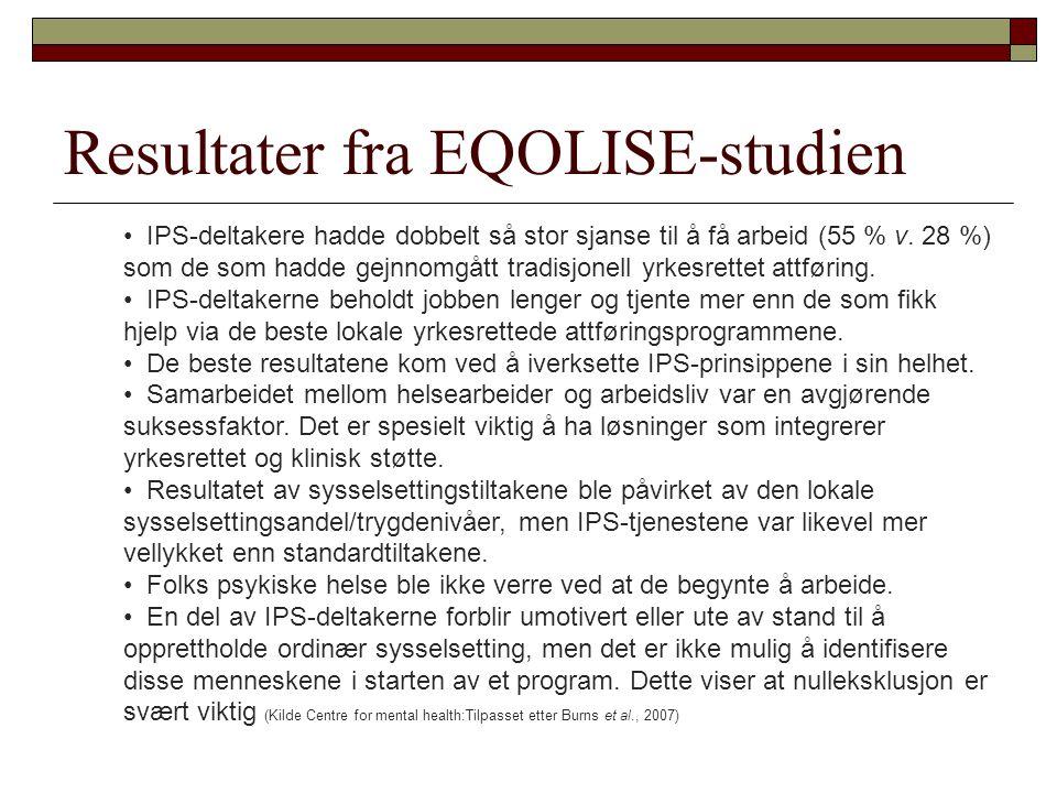 Resultater fra EQOLISE-studien • IPS-deltakere hadde dobbelt så stor sjanse til å få arbeid (55 % v. 28 %) som de som hadde gejnnomgått tradisjonell y