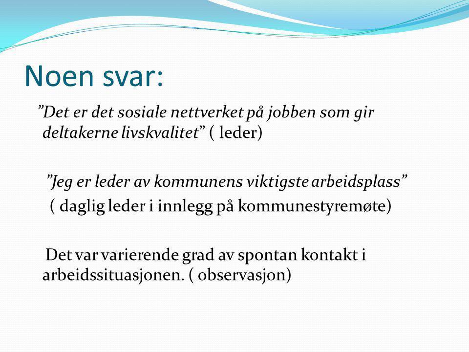 """Noen svar: """"Det er det sosiale nettverket på jobben som gir deltakerne livskvalitet"""" ( leder) """"Jeg er leder av kommunens viktigste arbeidsplass"""" ( dag"""