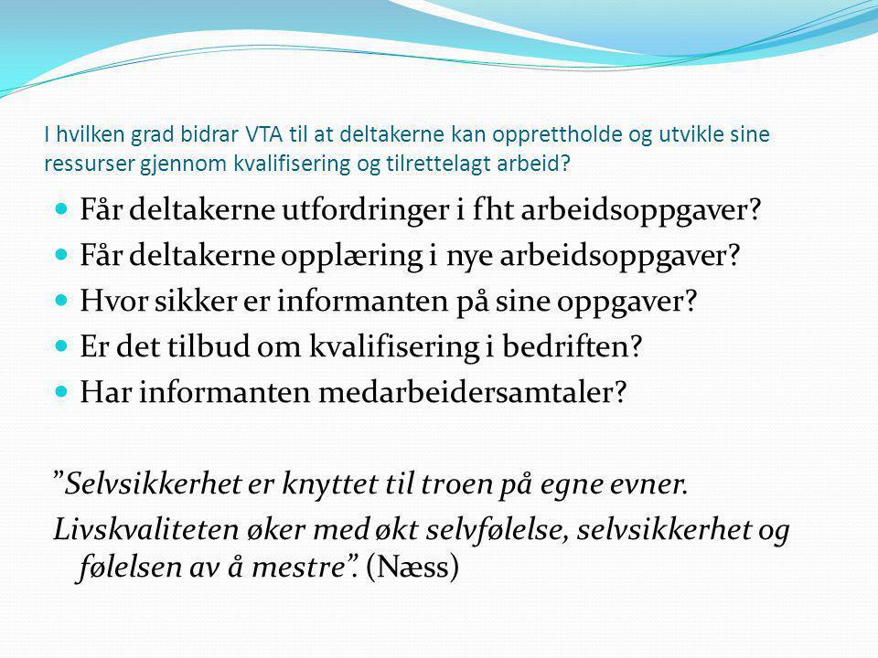 I hvilken grad bidrar VTA til at deltakerne kan opprettholde og utvikle sine ressurser gjennom kvalifisering og tilrettelagt arbeid?  Får deltakerne