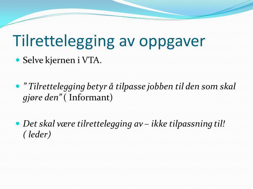 """Tilrettelegging av oppgaver  Selve kjernen i VTA.  """" Tilrettelegging betyr å tilpasse jobben til den som skal gjøre den"""" ( Informant)  Det skal vær"""