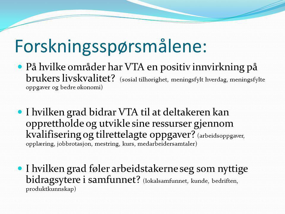 Forskningsspørsmålene:  På hvilke områder har VTA en positiv innvirkning på brukers livskvalitet? (sosial tilhørighet, meningsfylt hverdag, meningsfy