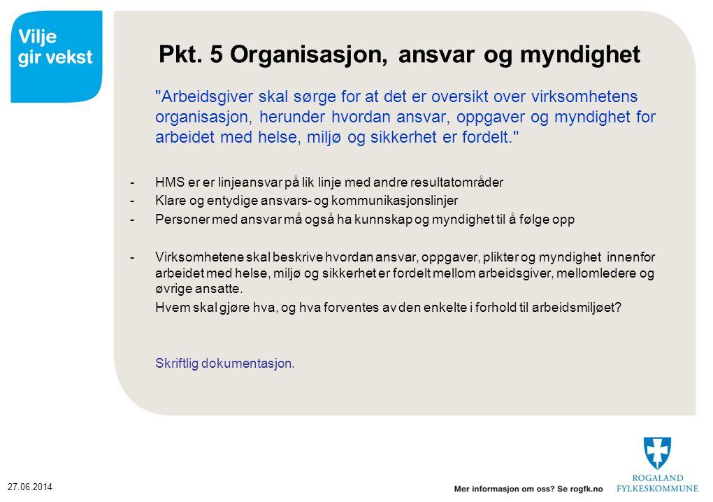 27.06.2014 Pkt. 5 Organisasjon, ansvar og myndighet