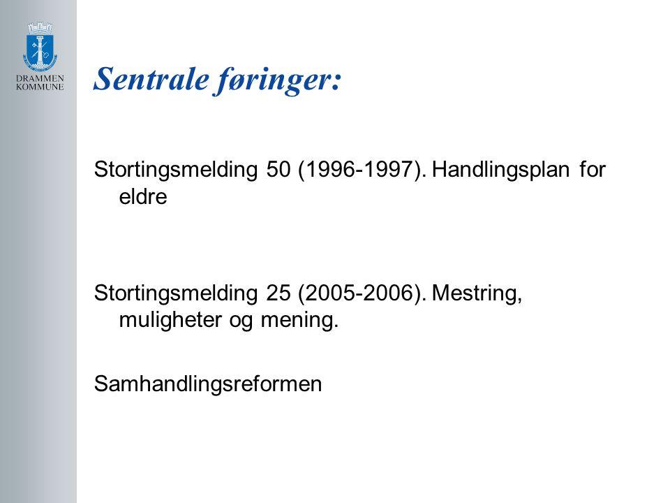 Sentrale føringer: Stortingsmelding 50 (1996-1997).