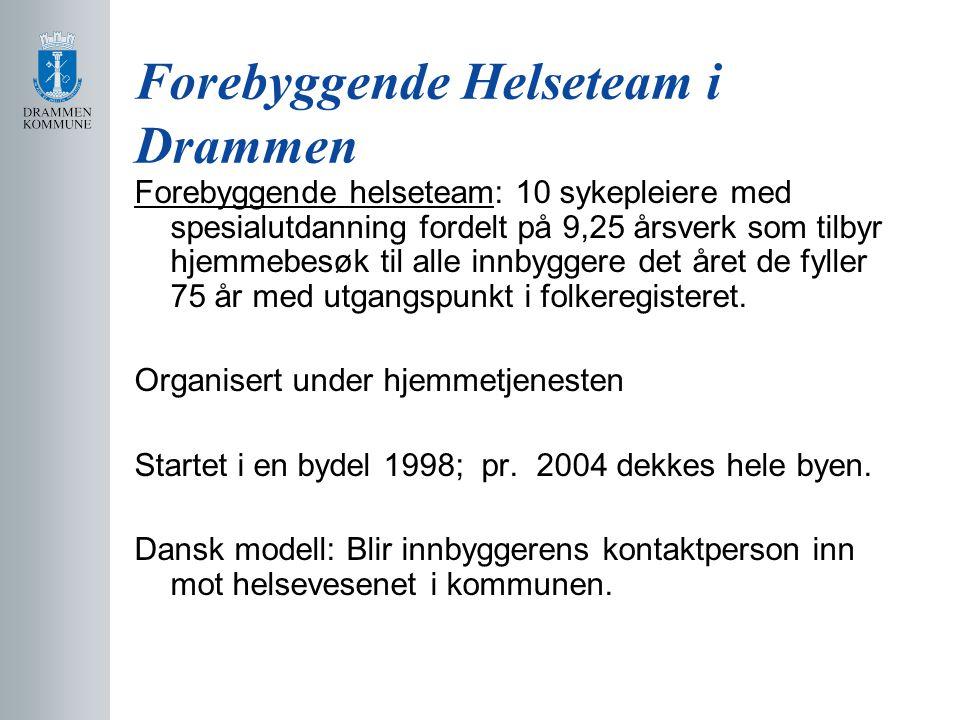 Forebyggende Helseteam i Drammen Forebyggende helseteam: 10 sykepleiere med spesialutdanning fordelt på 9,25 årsverk som tilbyr hjemmebesøk til alle innbyggere det året de fyller 75 år med utgangspunkt i folkeregisteret.