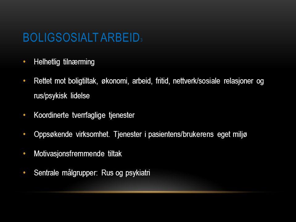 BOLIGSOSIALT ARBEID 3 • Helhetlig tilnærming • Rettet mot boligtiltak, økonomi, arbeid, fritid, nettverk/sosiale relasjoner og rus/psykisk lidelse • K