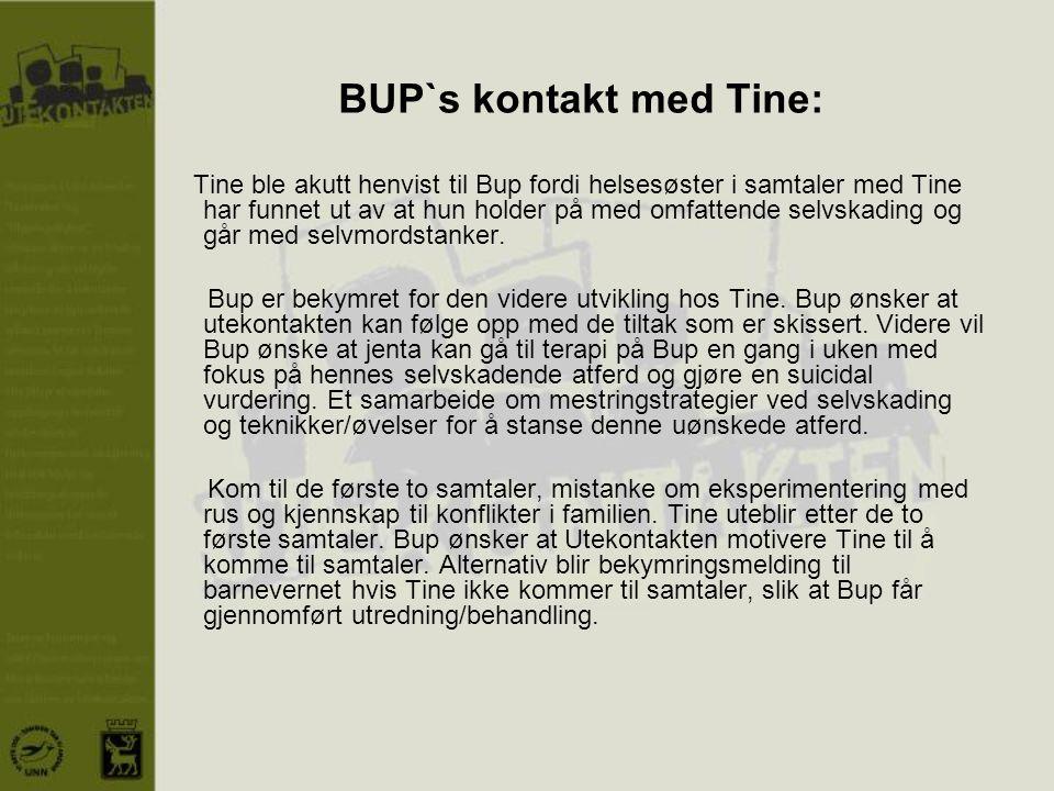 BUP`s kontakt med Tine: Tine ble akutt henvist til Bup fordi helsesøster i samtaler med Tine har funnet ut av at hun holder på med omfattende selvskad