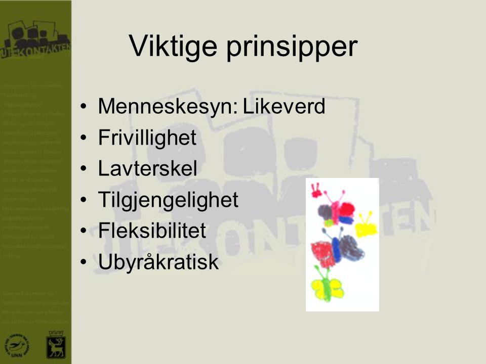 Viktige prinsipper •Menneskesyn: Likeverd •Frivillighet •Lavterskel •Tilgjengelighet •Fleksibilitet •Ubyråkratisk