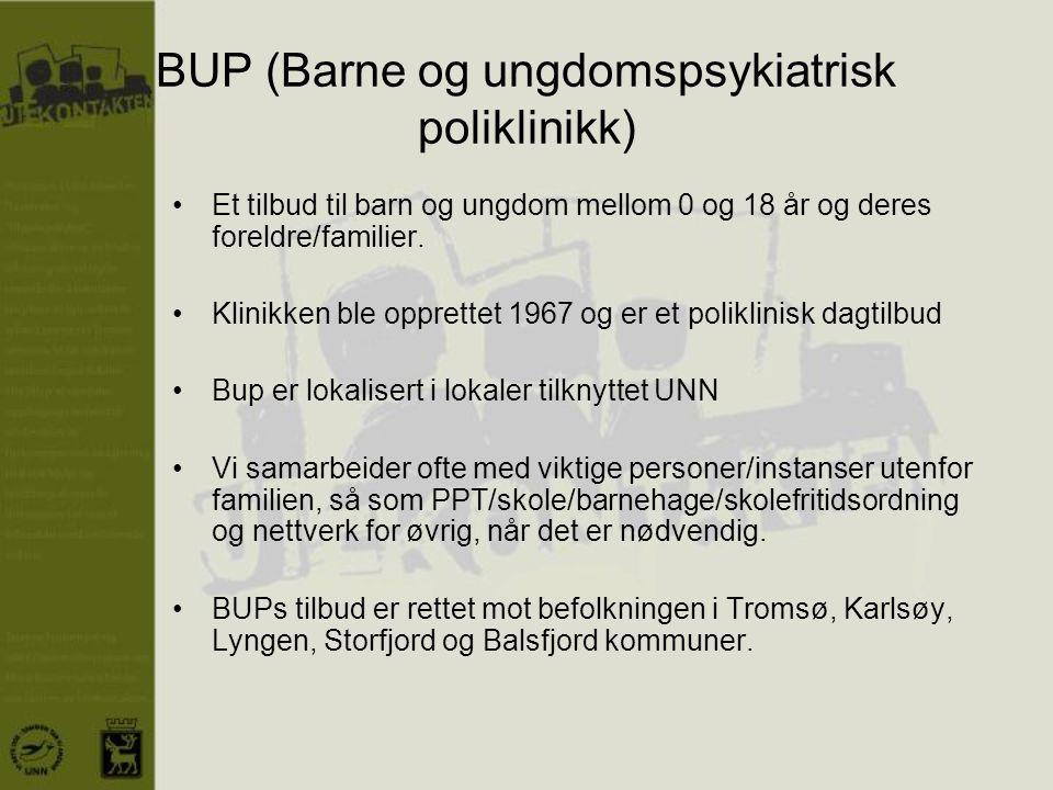 BUP (Barne og ungdomspsykiatrisk poliklinikk) •Et tilbud til barn og ungdom mellom 0 og 18 år og deres foreldre/familier. •Klinikken ble opprettet 196