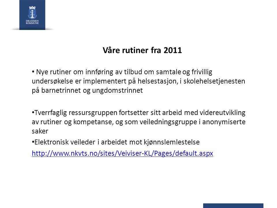 Våre rutiner fra 2011 • Nye rutiner om innføring av tilbud om samtale og frivillig undersøkelse er implementert på helsestasjon, i skolehelsetjenesten