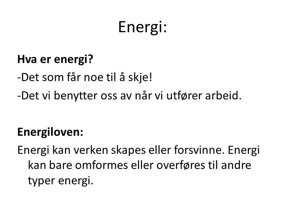 Energi: Hva er energi? -Det som får noe til å skje! -Det vi benytter oss av når vi utfører arbeid. Energiloven: Energi kan verken skapes eller forsvin